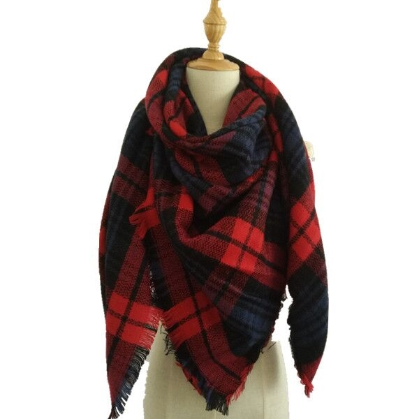 Plaid Blanket Scarf - orangeshine.com