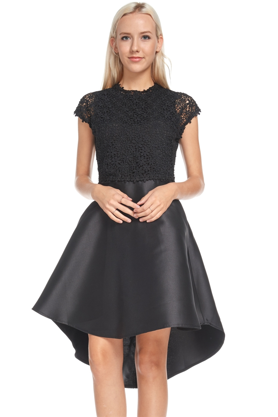 Black lace high low dress - orangeshine.com