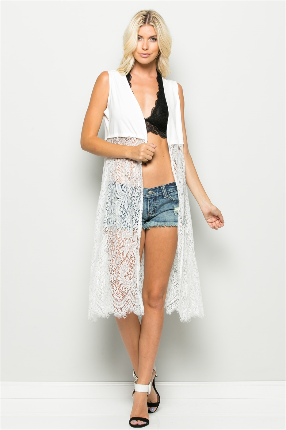 LACE BOTTOM LONG VEST - orangeshine.com