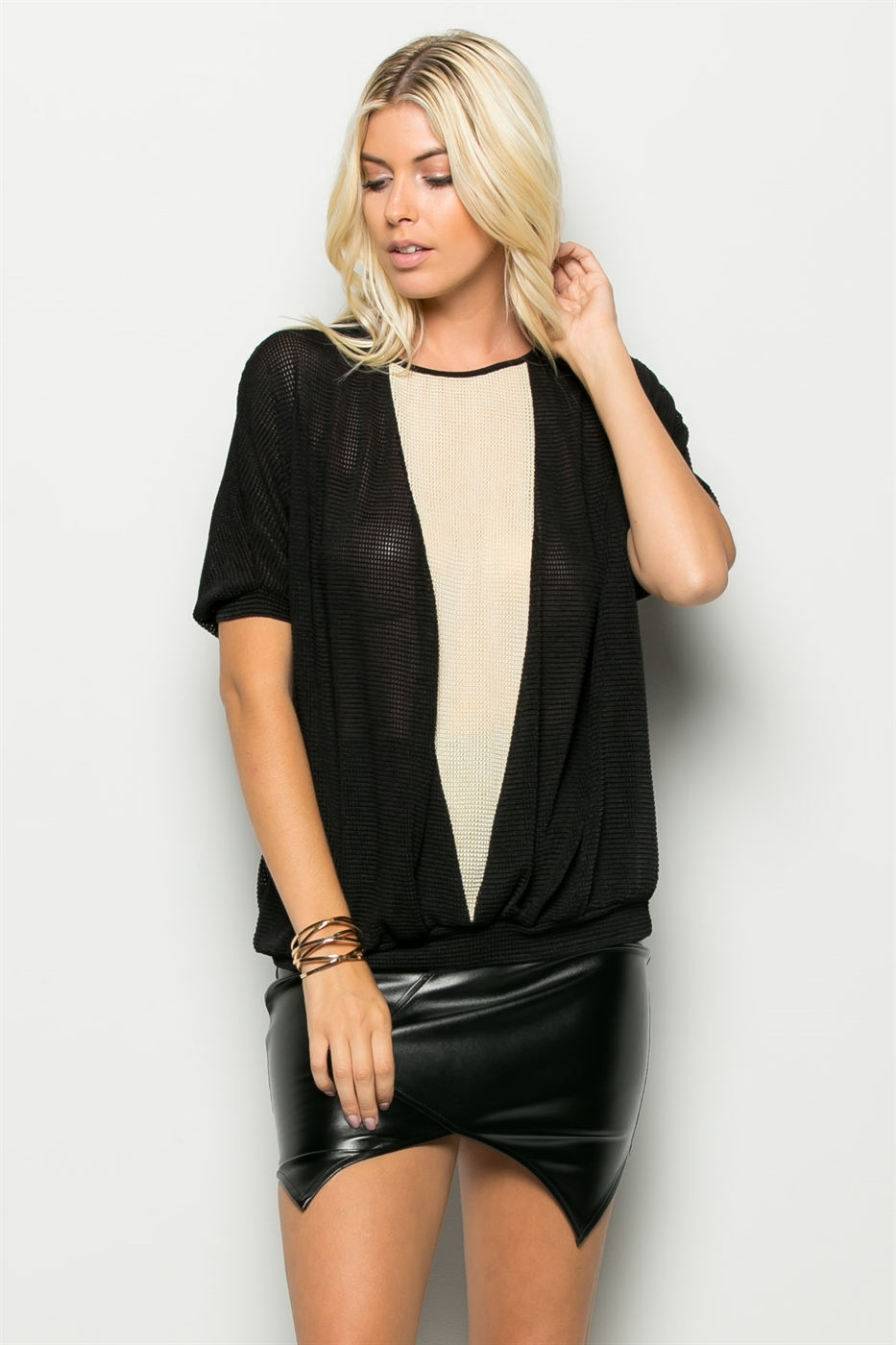 COLOR BLOCK TUNIC TOP - orangeshine.com