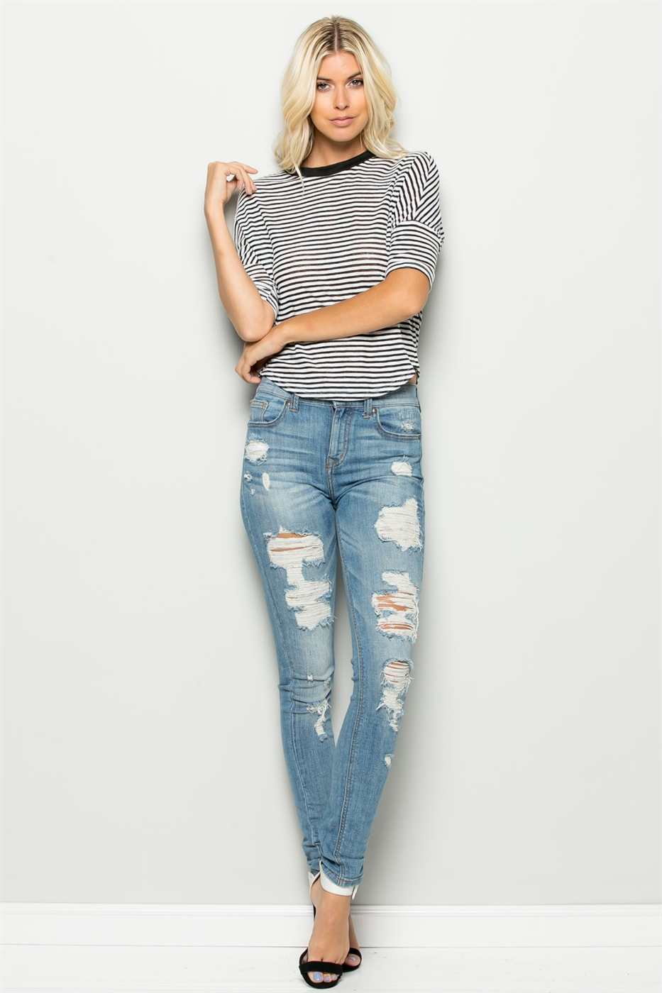 HIGH LOW NAUTICAL STRIPE TOP - orangeshine.com