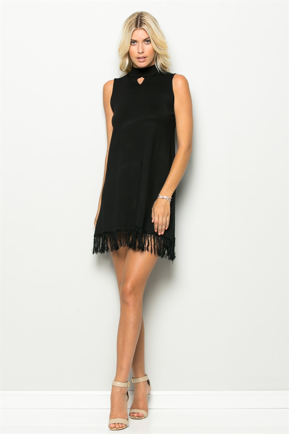 FRINGE BOTTOM KNIT DRESS - orangeshine.com