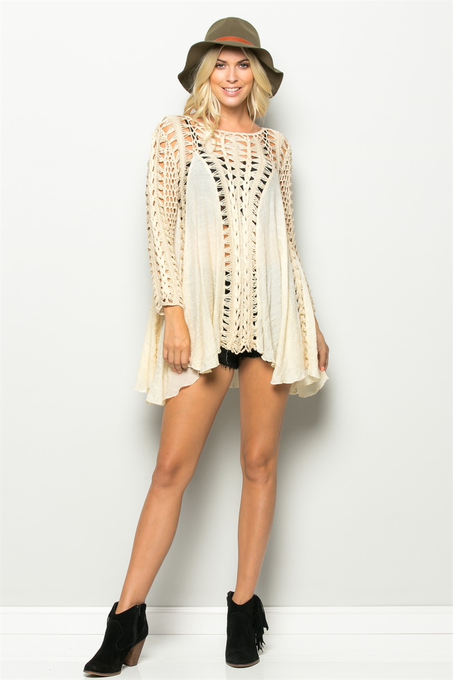 LONG SLEEVE KNIT MIX TUNIC - orangeshine.com