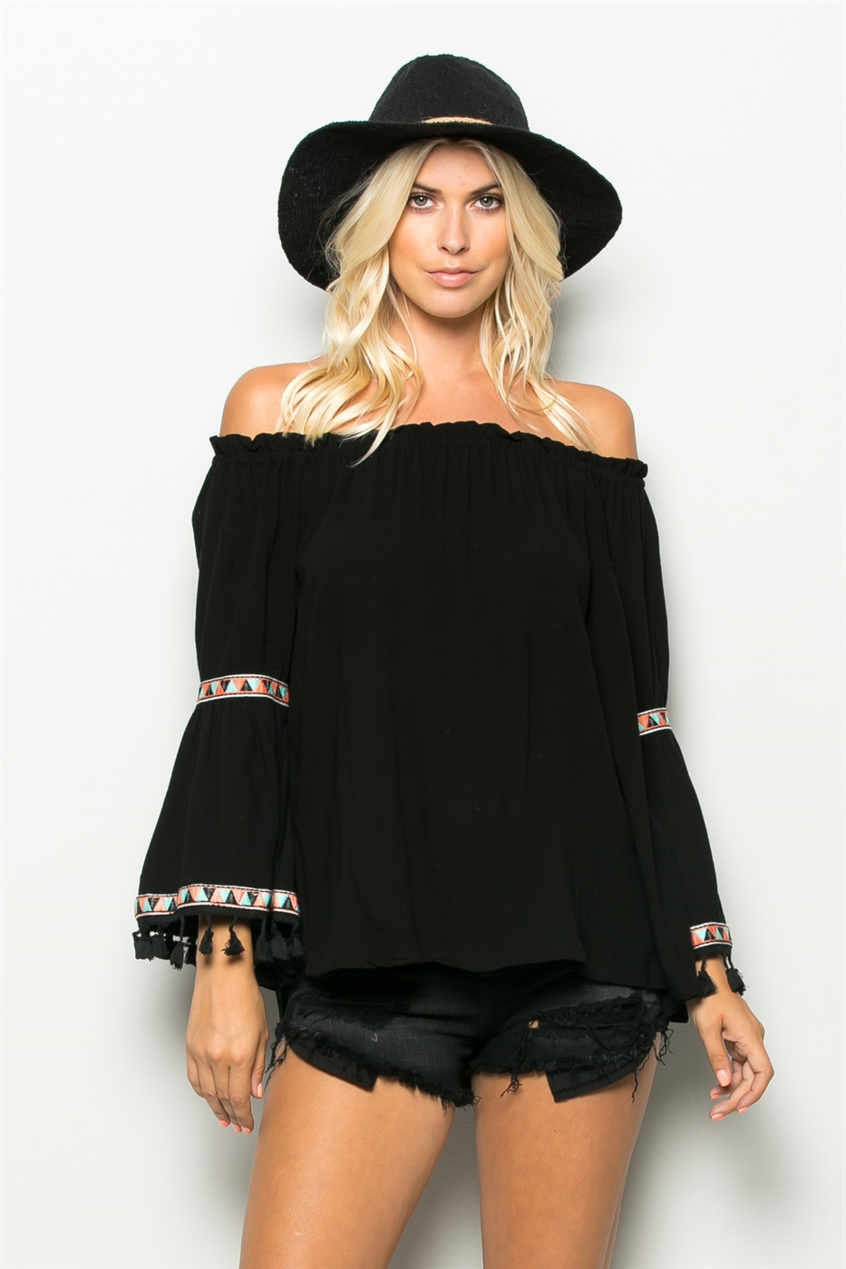 POINT EMBROID TASSEL SLV OFF - orangeshine.com