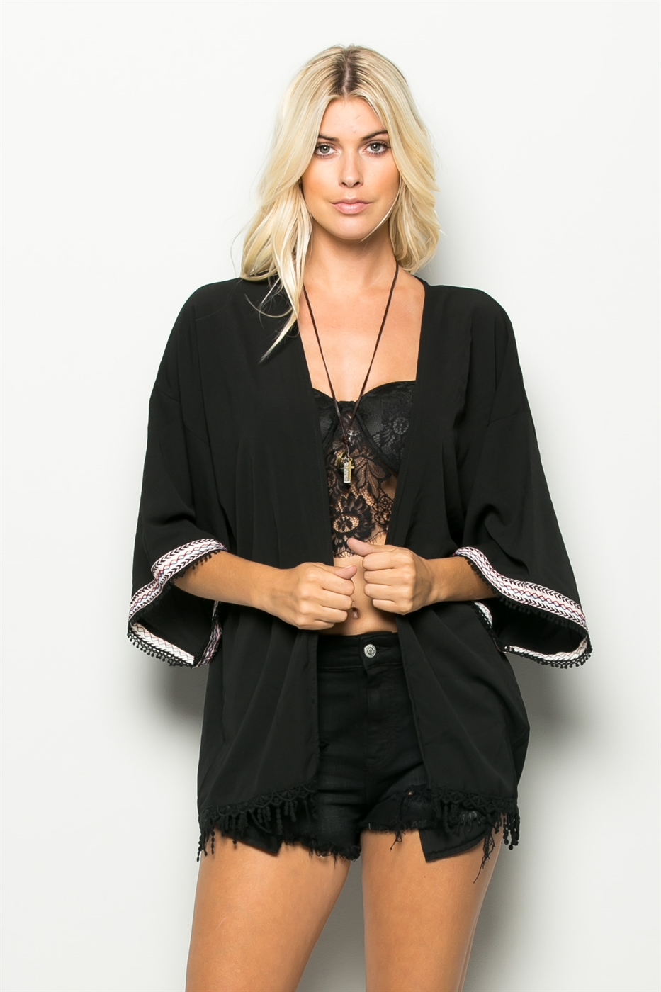 FRINGE BOTTOM OPEN CARDIGAN - orangeshine.com