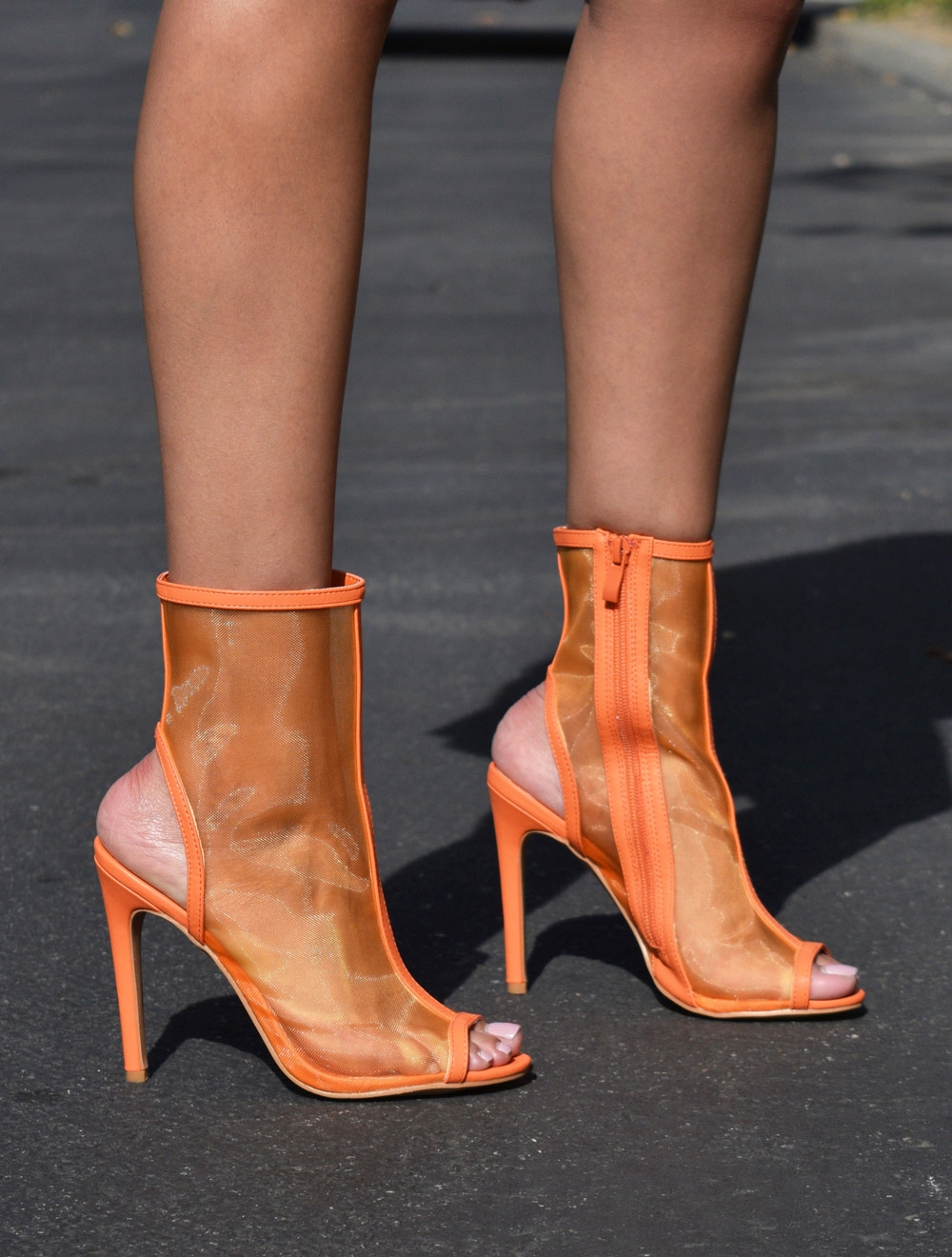 Peep Toe Mesh Stiletto - orangeshine.com