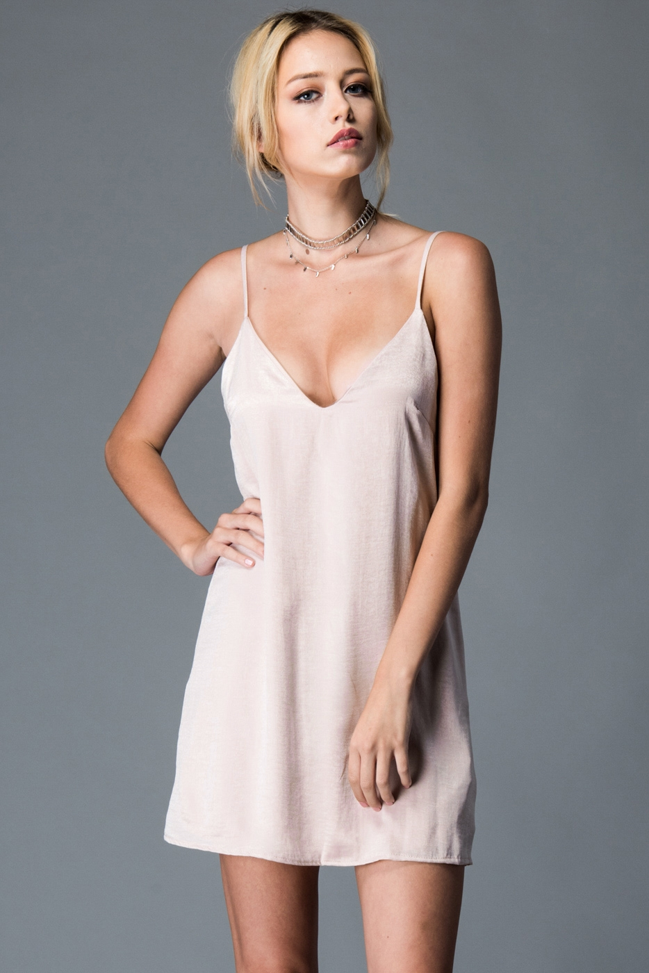 V-NECK SLIP SATIN DRESS - orangeshine.com