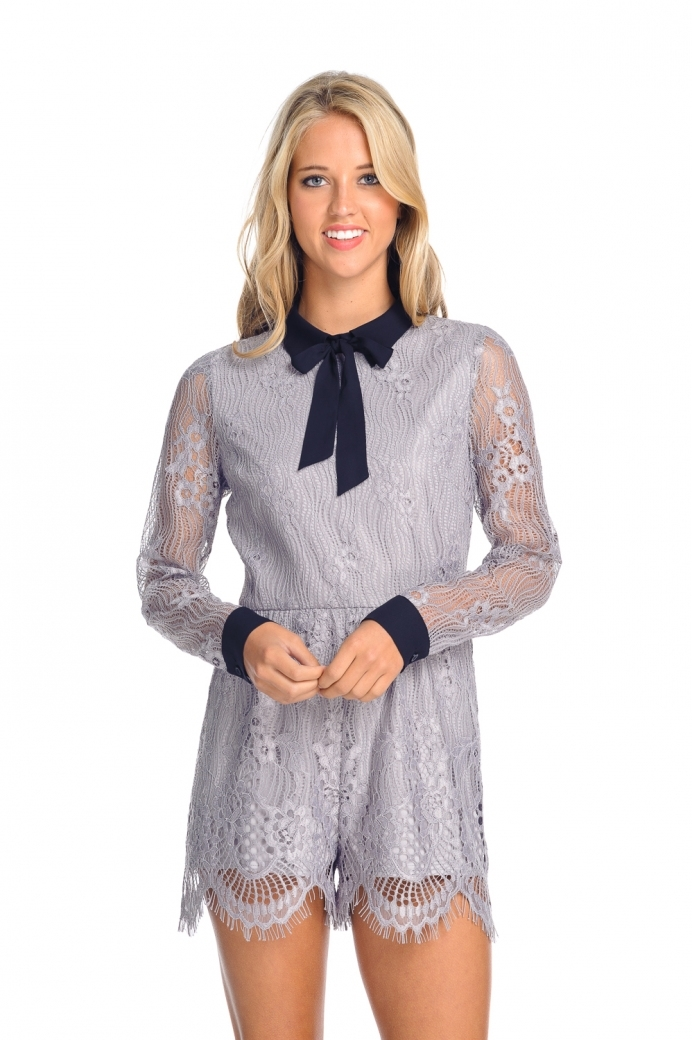 Grey Lace Bow Romper - orangeshine.com