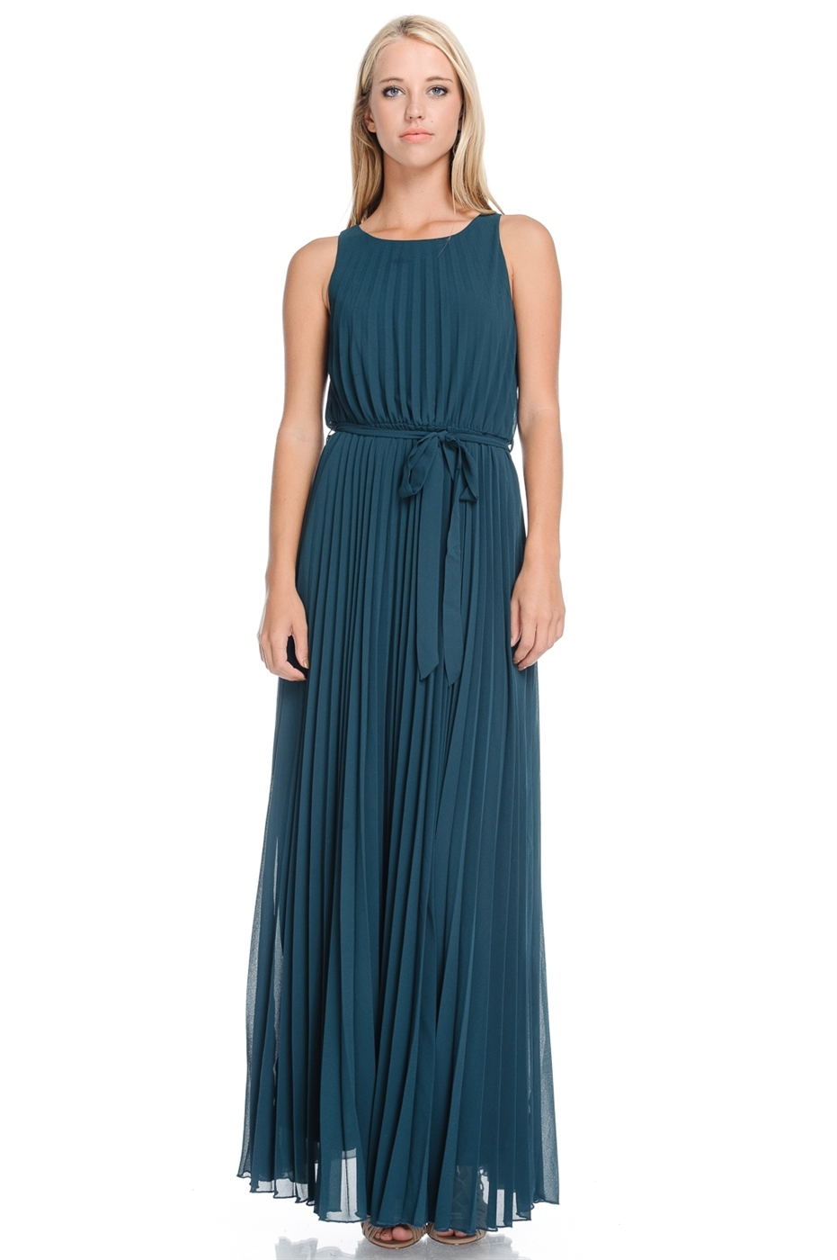 Teal Maxi Pleated Dress - orangeshine.com