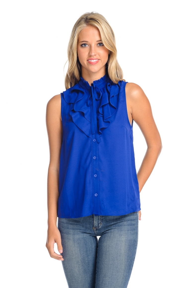 Royal Blue Ruffle Sleeveless Blouse - orangeshine.com