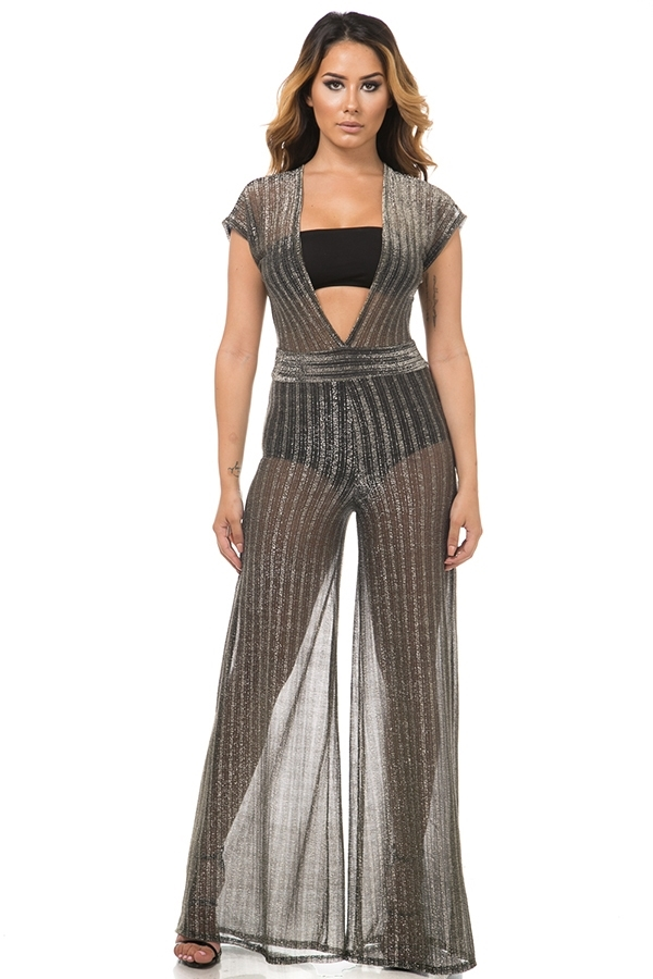 Sheer wide leg jumpsuit - orangeshine.com