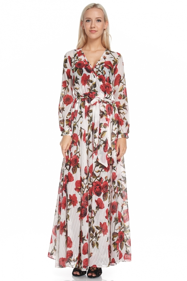 Ivory floral maxi dress - orangeshine.com