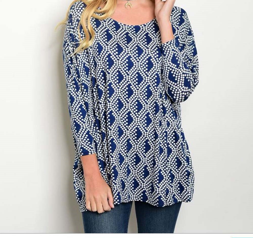 Navy with White print Tunic - orangeshine.com