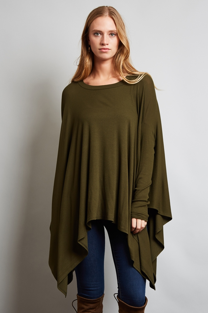 LONG SLEEVE RIB BOXY TOP - orangeshine.com
