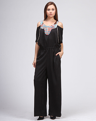 EMBROIDERY TOP OPEN SHOULDER OVERALL - orangeshine.com