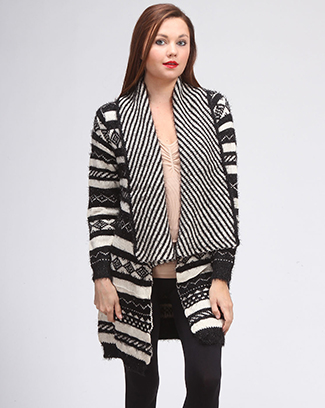 MULTI PRINTED SWEATER JACKET - orangeshine.com