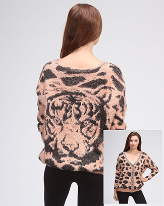 Tiger Printed Cardigan Sweater - orangeshine.com