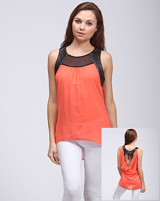 FAUX LEATHER OPEN BACK TOP - orangeshine.com