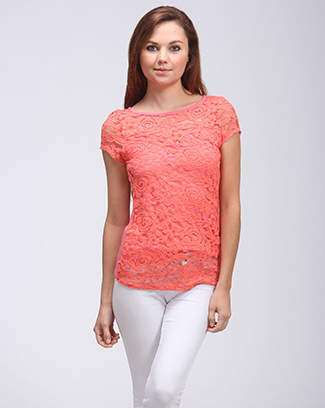 LACE SHORT SLEEVE TOP - orangeshine.com