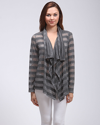 STRIPED DRAPED CARDIGAN TOP - orangeshine.com