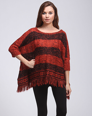 STRIPED FRINGE SWEATER PONCHO - orangeshine.com
