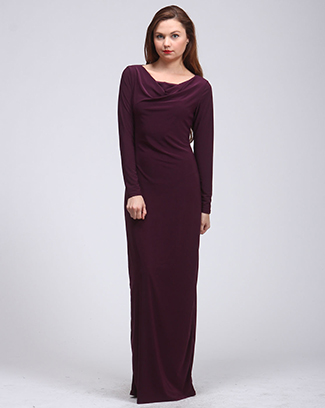 LONG SLEEVE COWL NECK DRESS - orangeshine.com
