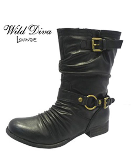 CRINKLED BOOTS WITH BUCKLES - orangeshine.com