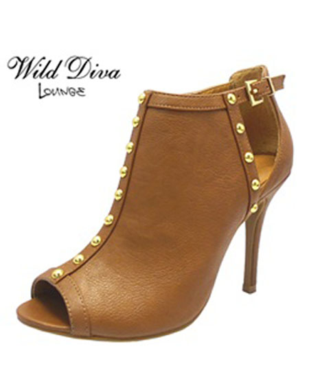 PEEP TOE BOOTIE WITH LINED STUDS - orangeshine.com