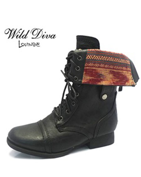 FOLD DOWN LACE UP BOOTS - orangeshine.com