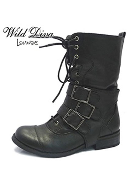 LACE UP BOOTS WITH MULTI BUCKLES - orangeshine.com