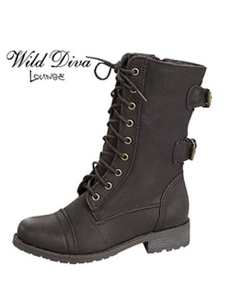 LACE UP BOOTS WITH BUCKLED BACK - orangeshine.com