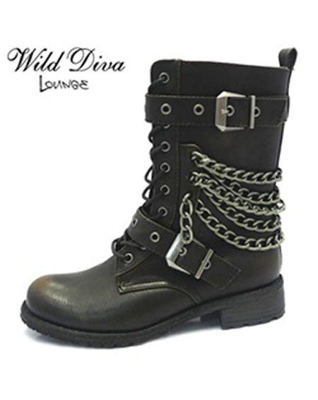 CHAINED LACE UP BOOTS WITH BUCKLE - orangeshine.com