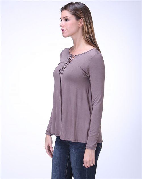 Solid Long Sleeve Self Tie Top - orangeshine.com