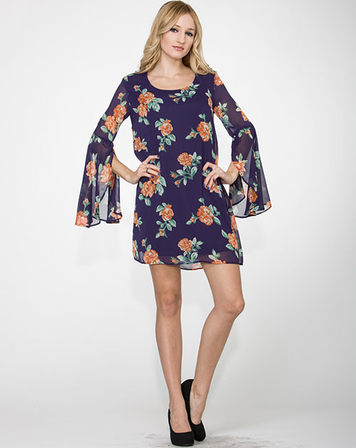 Floral Print Tunic Dress - orangeshine.com