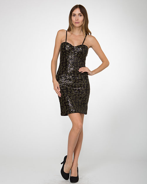 Sweetheart neckline Front Sequins Dress - orangeshine.com