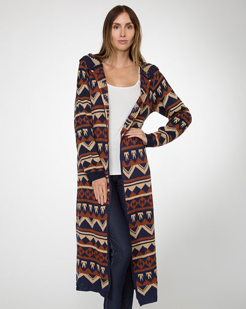-Native Pattern Cardigan Sweat - orangeshine.com