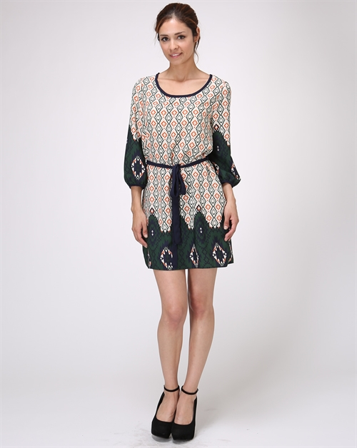 BELTED PRINT DRESS - orangeshine.com
