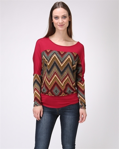 Chevron Print Knit Dolman Top - orangeshine.com