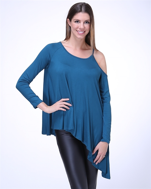 Cold Shoulder Asymmetrical Top - orangeshine.com