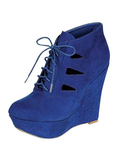 CUT OUT LACED WEDGE BOOTIE - orangeshine.com