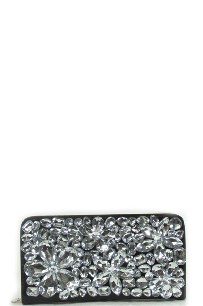 Flower rhinestone clutch - orangeshine.com