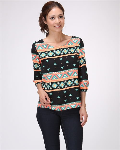 NEON TRIBAL PRINT 3/4 SLV TOP - orangeshine.com