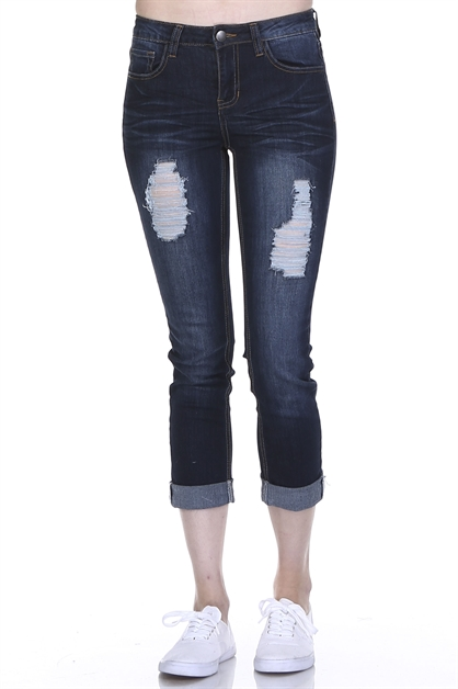 DISTRESSED CROP JEANS - orangeshine.com
