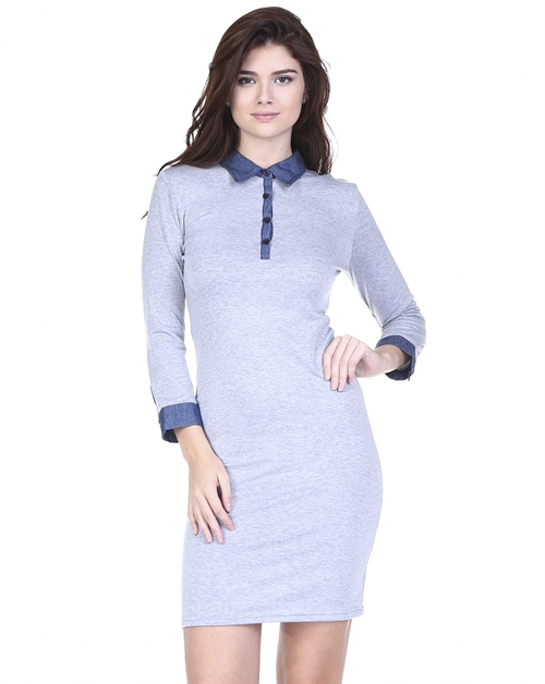 DENIM COLLAR SOLID DRESS - orangeshine.com