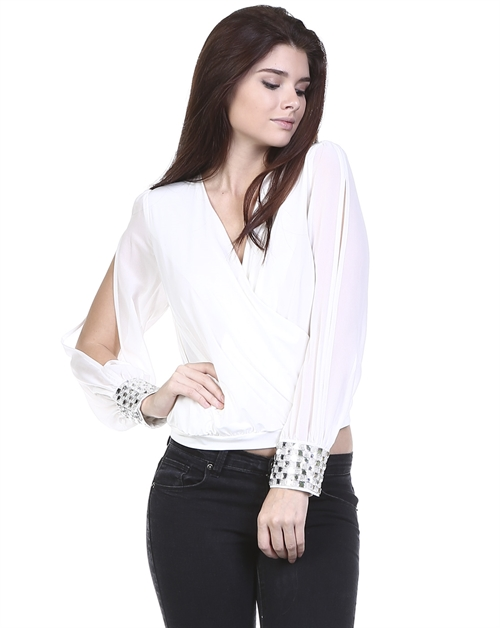 OPEN SLEEVE RHINESTONE BLOUSE - orangeshine.com