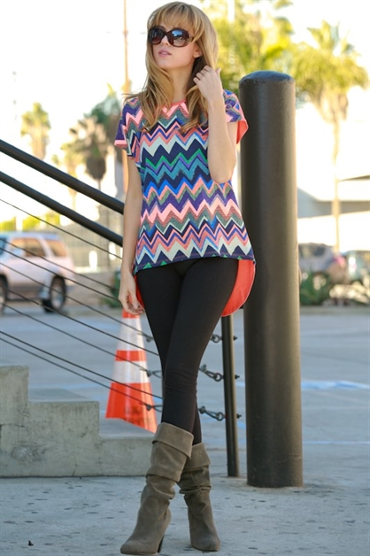 Multi Chevron Front Solid Back - orangeshine.com