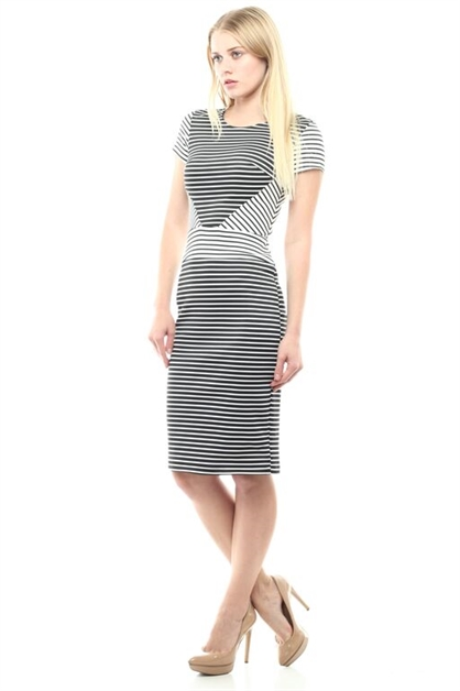 MONO STRIPED PENCIL DRESS - orangeshine.com