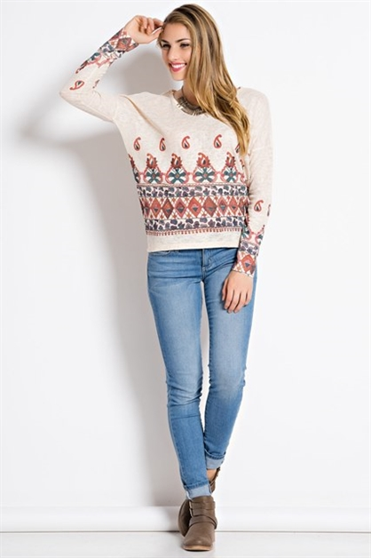 LONG SLEEVE KNIT PRINT TOP - orangeshine.com
