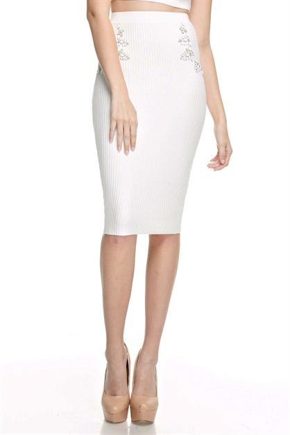 Embellished Pencil Skirt - orangeshine.com