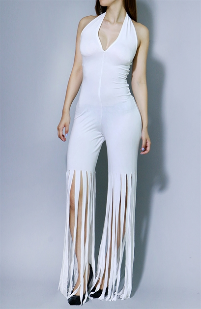 Cutout Jumpsuit with Fringe - orangeshine.com